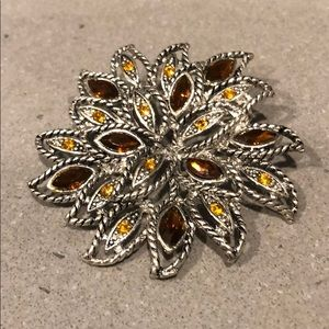 Autumn silver-toned brooch